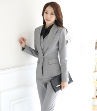 Novelty Grey Autumn And Winter Professional Female Pantsuits Ladies Office Business Jackets Pants Vest Ladies Trousers
