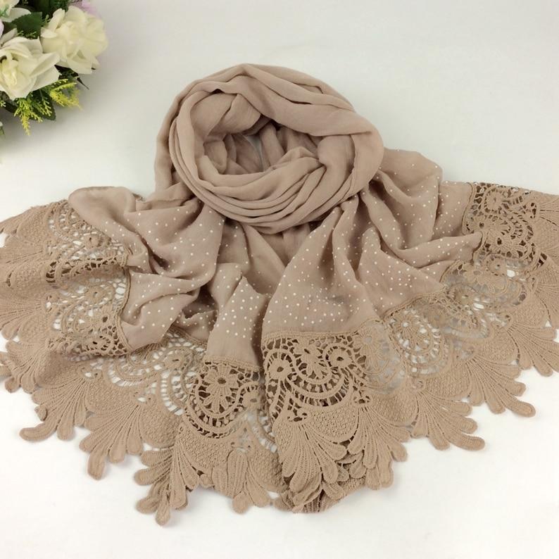 Luxury Diamond Plain Floral Embroidery Lace Women Long Scarves Cotton 2016 Shawls Maldives Style