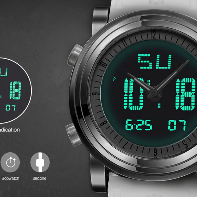Sports Digital Chronograph Quartz double Movement Waterproof men Watch