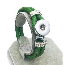 Rhinestones Wholesale Hot Original Genuine Leather 18mm Snap Button Bracelet Interchangeable Charm Jewelry For Women Men