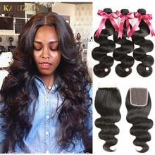 Karizma 브라질 바디 웨이브 Closing 4 Pcs 100 % 인모 헤어 번들 3 묶음 무료 파트 Non Remy Brazilian Hair