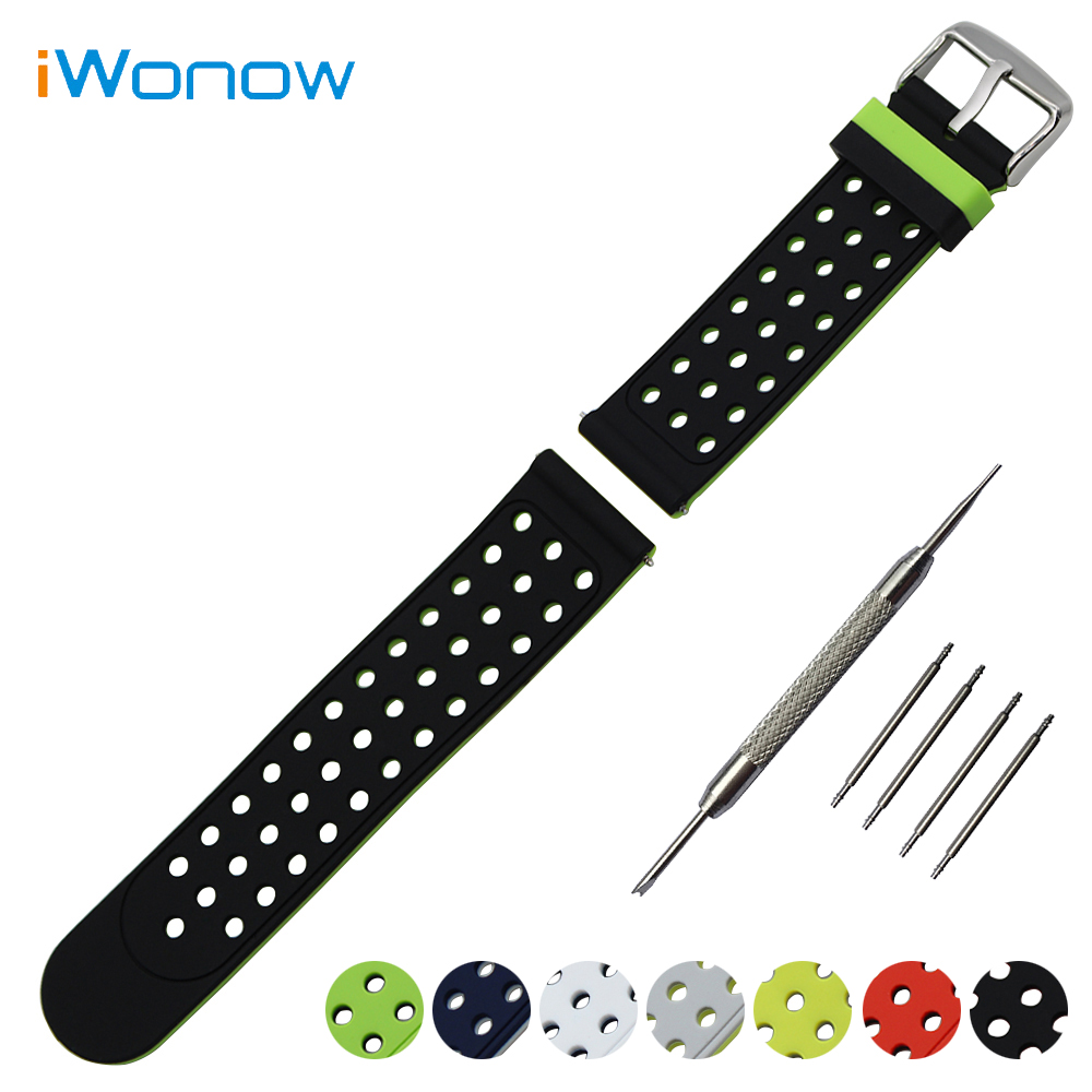 Silicone Rubber Watch Band 22mm for Pebble Time / Steel Samsung Gear S3 Watchband Double Side Wearing Strap Wrist Belt Bracelet jansin 22mm watchband for garmin fenix 5 easy fit silicone replacement band sports silicone wristband for forerunner 935 gps