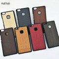 P 9 p9 caso original de lujo del estuche rígido para huawei ascend p9 lite p9lite coque cubierta del teléfono protectora del grano de madera volver casos cubre