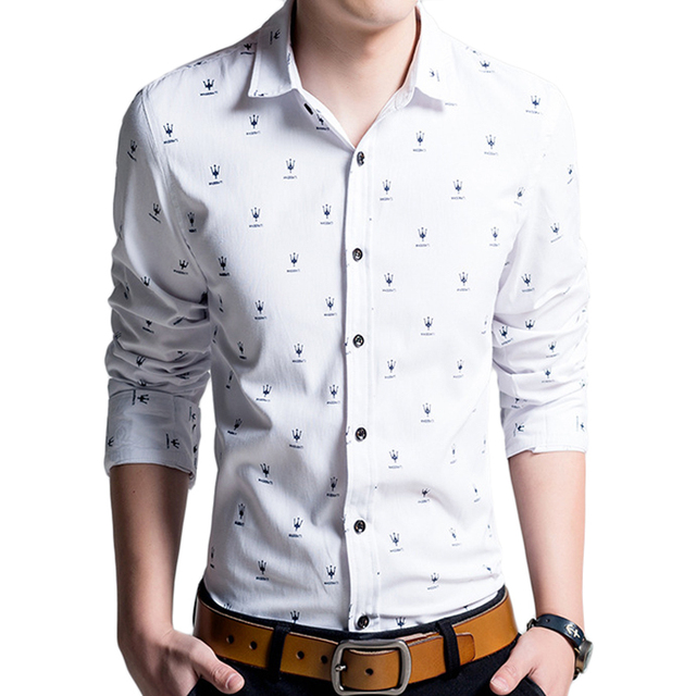 Brand White Men Shirt Chemise Homme 2016 Fashion Design Printed Long Sleeve Mens  Slim Fit Dress Shirt Casual Camisa Masculina addac080491