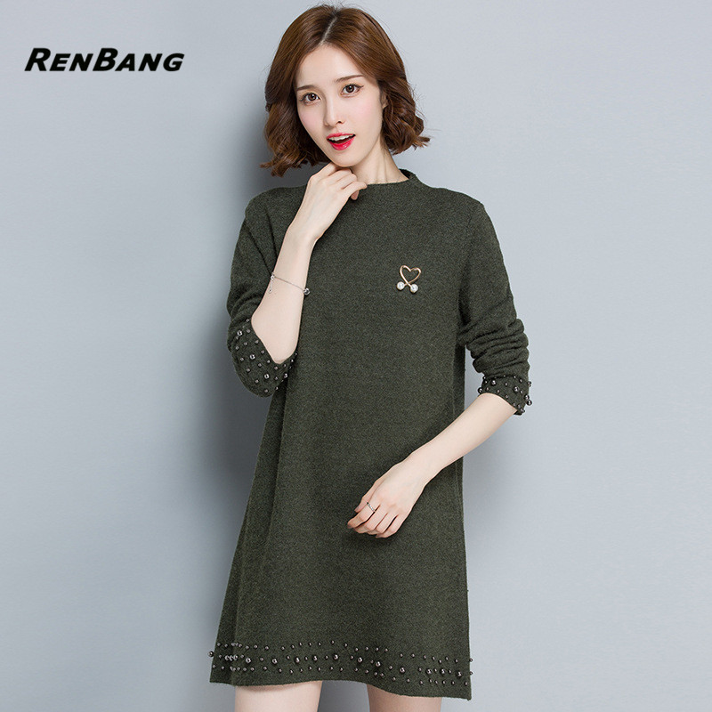 RENBANG Casual Spring Dress Turtleneck Knitted Cashmer Thick Sweater Dress Warm Women Straight Dress Pullover Female Sweater