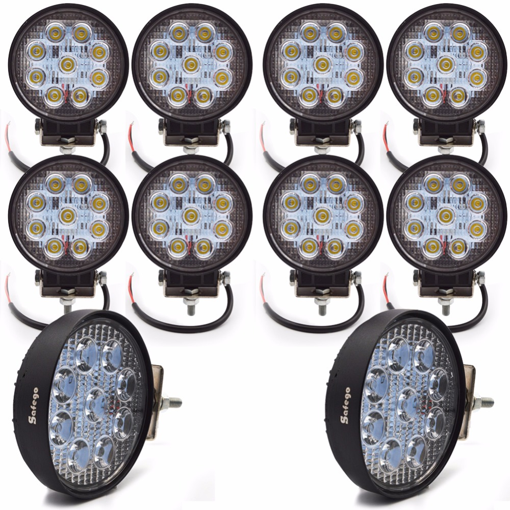 10 stks 4 inch led-lichtbalk 12 v 24 v 27 w led werk spot / - Autolichten