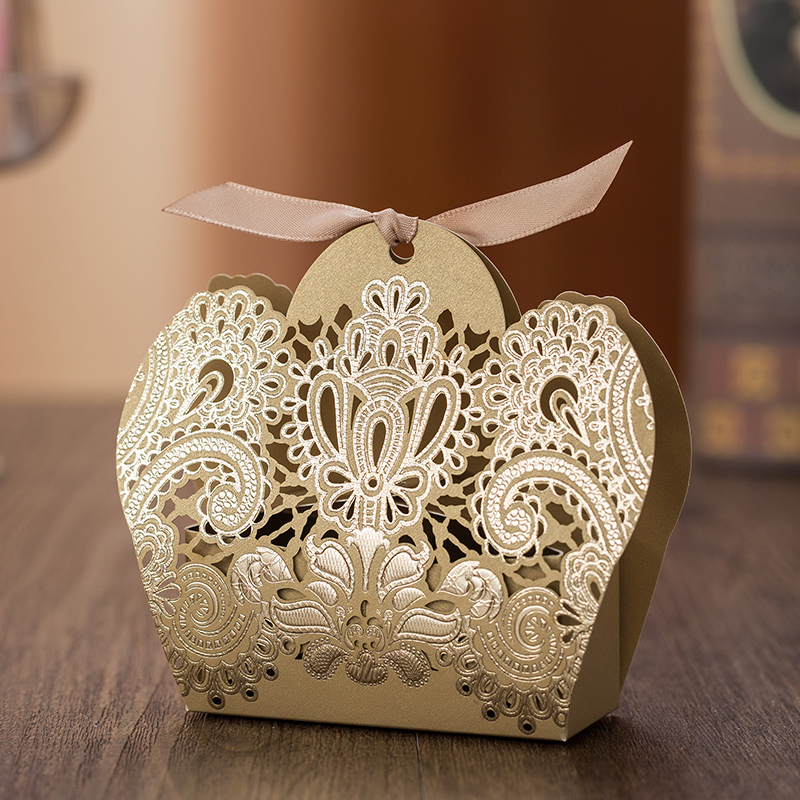 Free Shipping 50 X Hollow Red/Gold Crown Wedding Candy Box Gift Box Wedding Party Deco Supply