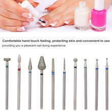 10 Pcs gel nails drill bit Diamond Grinding Head Nail frez diamentowy Metal 2.35mm Shank Manicure Machine Accessories Beauty