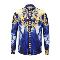 ESDAF Luxury Brand Men Dress Shirt 2018 Fashion Design Printed Slim Fit Shirt Long Sleeve Chemise