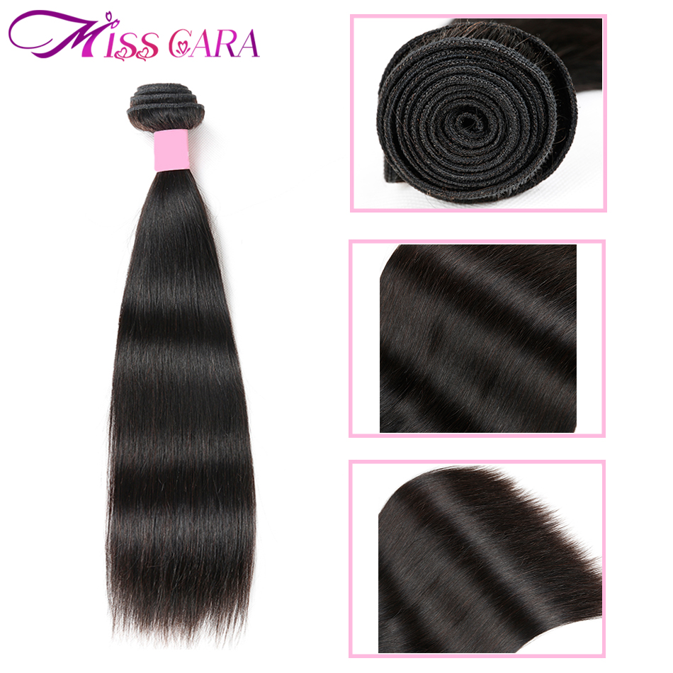 Malaysian Straight Hair 4 Bundles With 4*4 Middle/Free Part Closure 100% Human Hair Bundles With Closure Closure Miss Cara Remy