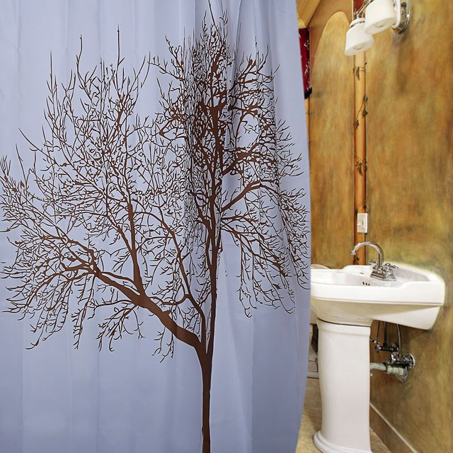 Nature Scenery Design Brown Tree Pattern Waterproof Polyester Bath Curtain With 12 Plastic Buckles For