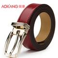 Aokang 2015 новинка бренд Desigual ремни для женщин красный пряжкой из натуральной кожи женщин пояса ремень Ceinture Women Cintos Couro