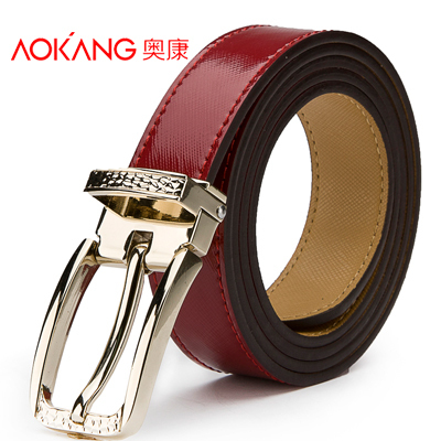 Aokang 2015 New Fashion Brand Belts For Women Red Pin Buckle Genuine Leather Womens Belt Strap Ceinture Cintos Couro