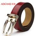 Aokang 2015 Novos Cintos de Marca de Moda Para As Mulheres Vermelho Pin Fivela Couro Genuíno da Correia Das Mulheres Correia Ceinture Cintos Couro