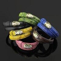 Мода двойной Слои змея Стиль желтого золота Цвет Титан Сталь Кожаные браслеты