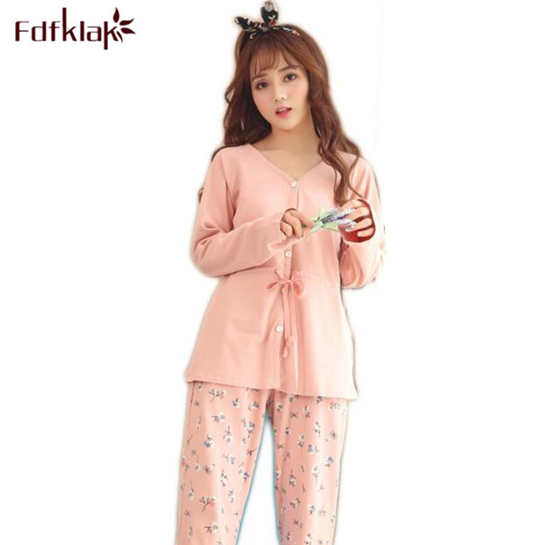 Fdfklak Home Clothes Spring Autumn Fashion Womens Cotton Pajamas Family Pajama Set Womens Pyjamas Sleepwear Pijama Mujer Q518