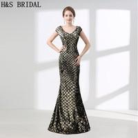 H & S BRIDAL Vintage Goedkope Avondjurk Voor Vrouwen Sweep Trein Shinny avondjurken lange vestido longo abendkleider prom jurken