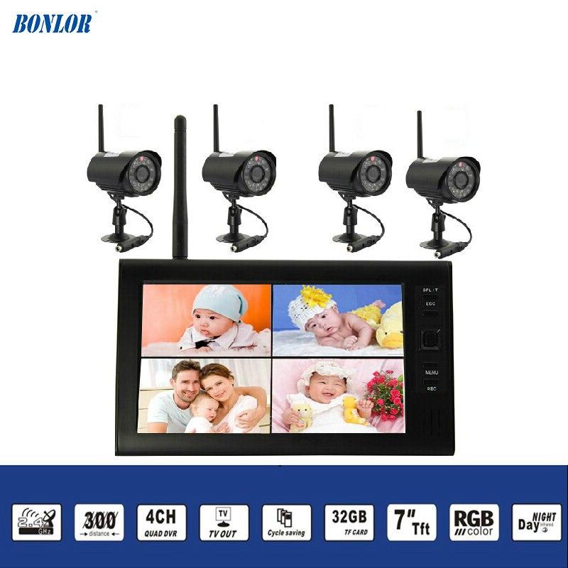 2,4 ГГц Беспроводной набор для слежения за младенцем заключения 4Ch цифровая водонепроницаемая камера пуля и 7 дюймов TFT ЖК дисплей для контрол