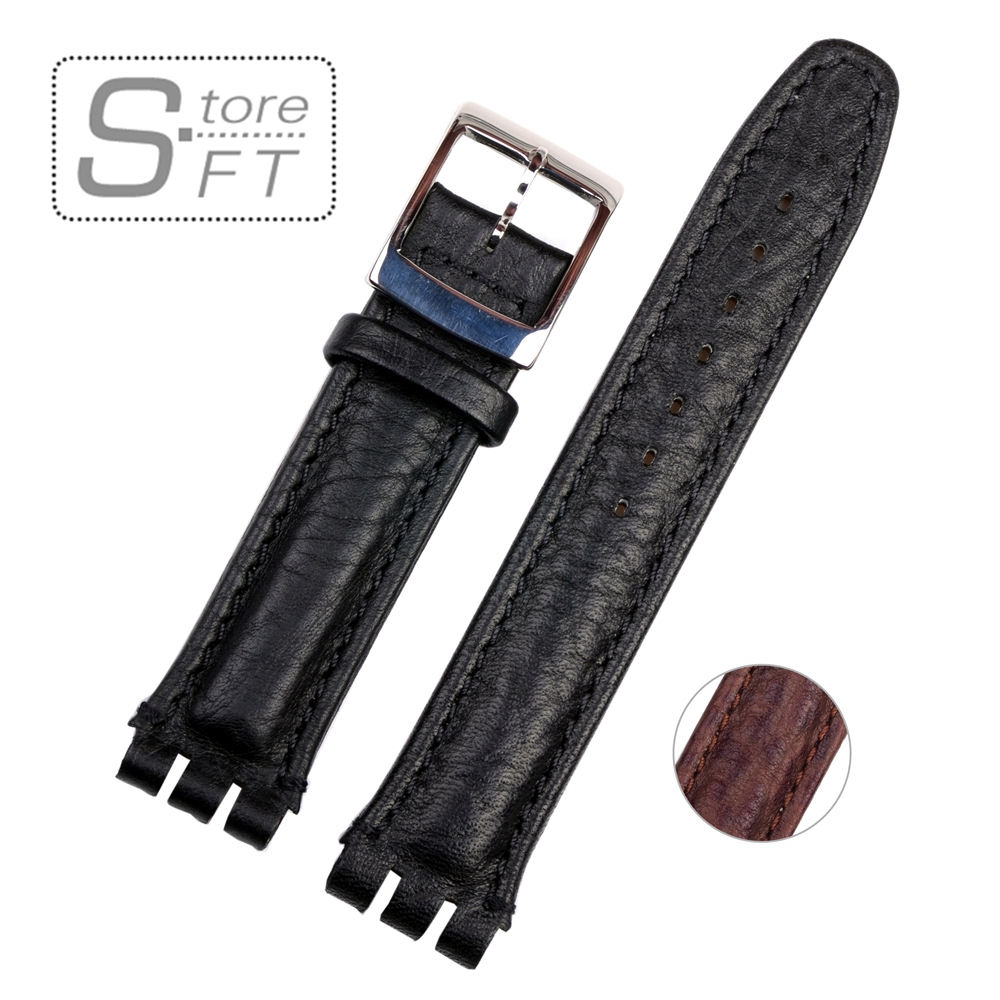 High Quality 19mm Genuine Leather Watch Strap Band For Swatch Lichee Pattern Black Brown high quality 17mm 19mm 23mm waterproof genuine leather watch strap band for swatch croco pattern black brown white