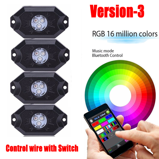 4 pods rgb led rock lights & wiring harness kit bluetooth & manual mode  remote control for off road truck atv suv vehicle boat