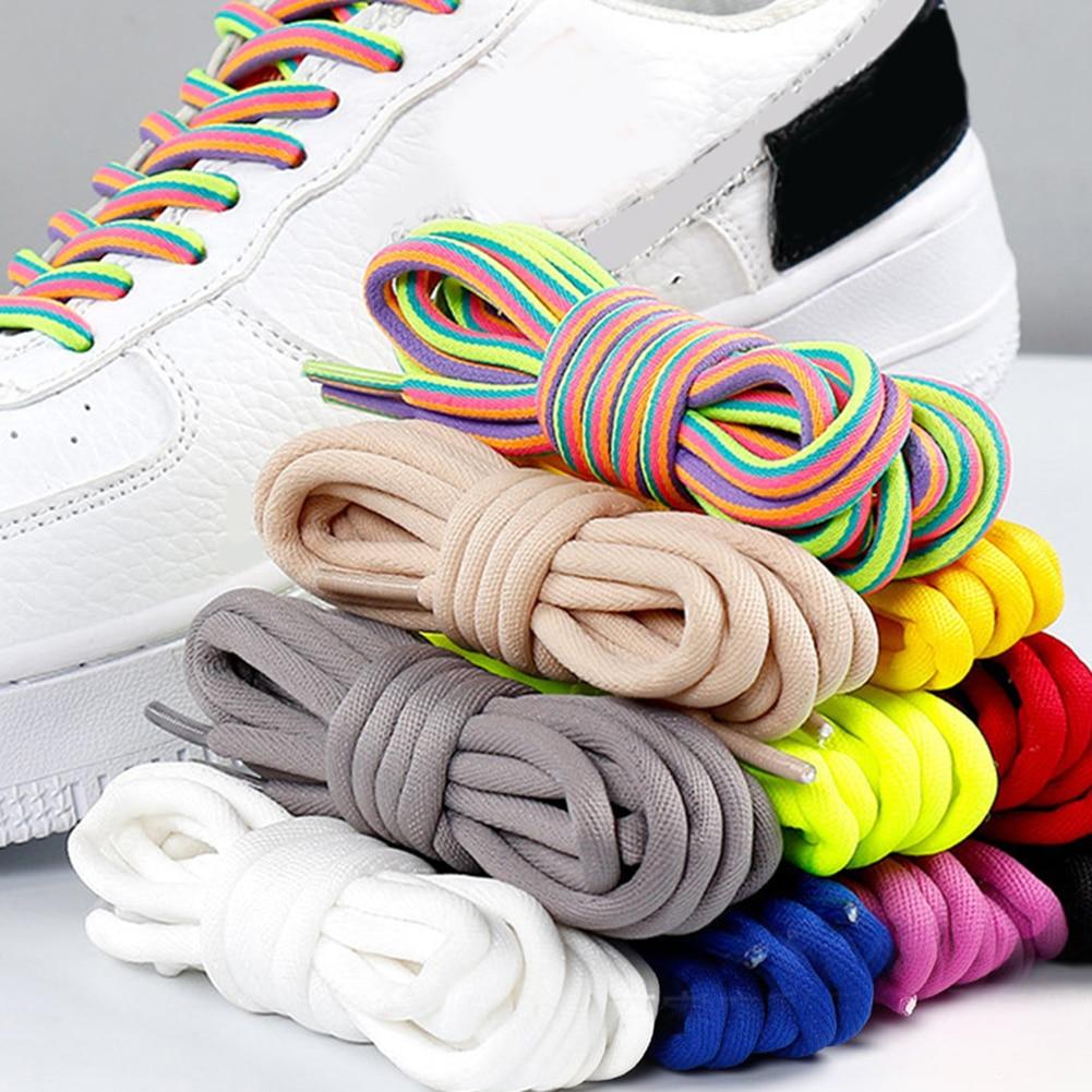 Unisex Duurzaam Sport Laarzen 140cm Laces 1 Pair Classic Casual Bold Round Shoelaces Black And White Sports White Shoe Laces