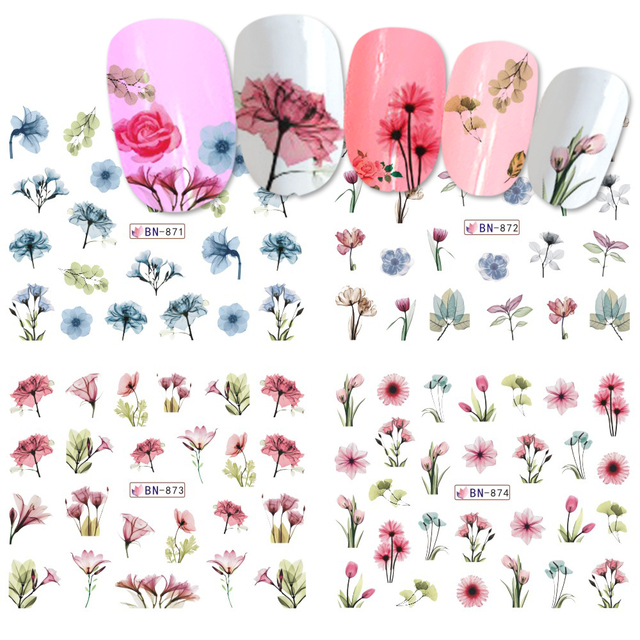 1pcs Daisy Lavender Water Nail Sticker Flower Leaf Design Slider DIY Nail Art Decal Charms Foils Tips Decoration
