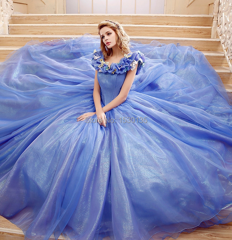 837fc251e99 Stunning V-neck Blue Ball Gown 2016 Cinderella Dress Cosplay Costume Prom  Party Dress Plus Size Prom Dress Evening Dress o48