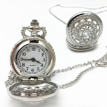 Men Pocket Watch Retro Bronze Tone Round Shape Spider Web Pattern Watches With Chain Necklace LXH