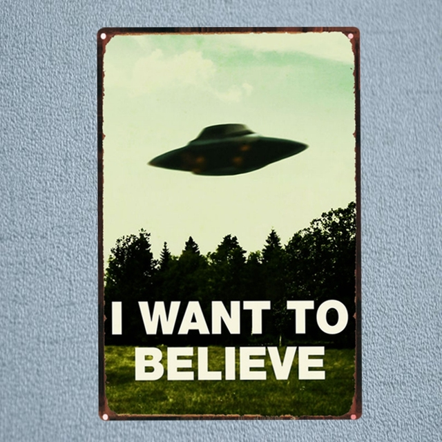 UFO I Want To Believe Tin Signs Metal Plate Garage Wall Pub Stunning Believe Signs Decor