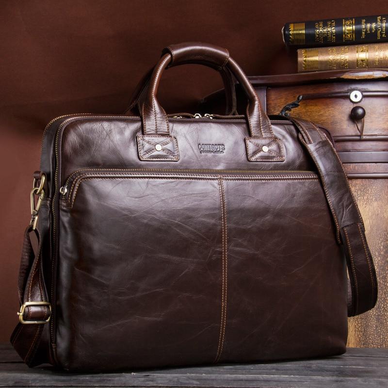 Business Men's Genuine Leather Briefcase For Laptop Big Capacity Waterproof Men's Cow Leather Shoulder Bag Vintage Handbag