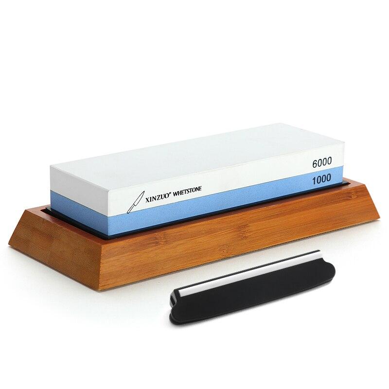 Xinzuo double side 1000/6000 grit pedra de amolar afiador de faca profissional pedras de afiação com guia ângulo & suporte bambu