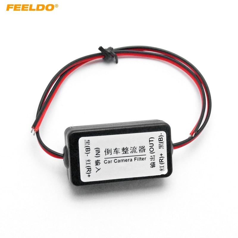 FEELDO 12V Power Filters Reversing Rectifier Ballasts Solve Rear View Camera Ripple Splash Screen Interference Relay Filter