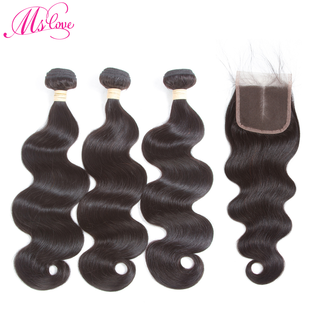Mslove Raw Indian Body Wave Human Hair Bundles With Closure Indian Body Hair 3 Bundles Non Remy Hair with lace Closure