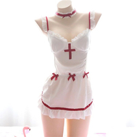 Japanese Soft Sexy Maid Dress Uniform Nurse Strapless Backless Suit Sexy Lingerie Costume 217