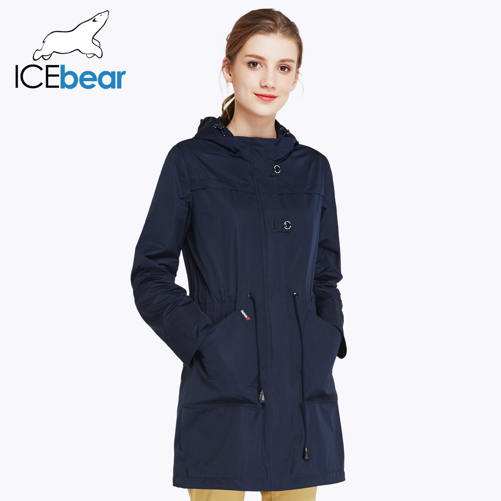 ICEbear O-Neck Collar Autumn Trench Coat Solid Color Woman Fashion Slim Coats Hat Detachable 17G123D