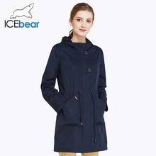 ICEbear 2017 О-Образным Вырезом Воротника Осень Новое Прибытие Пальто Сплошной Цвет Женщины Мода Пальто шапка Съемная 17G123D(China (Mainland))
