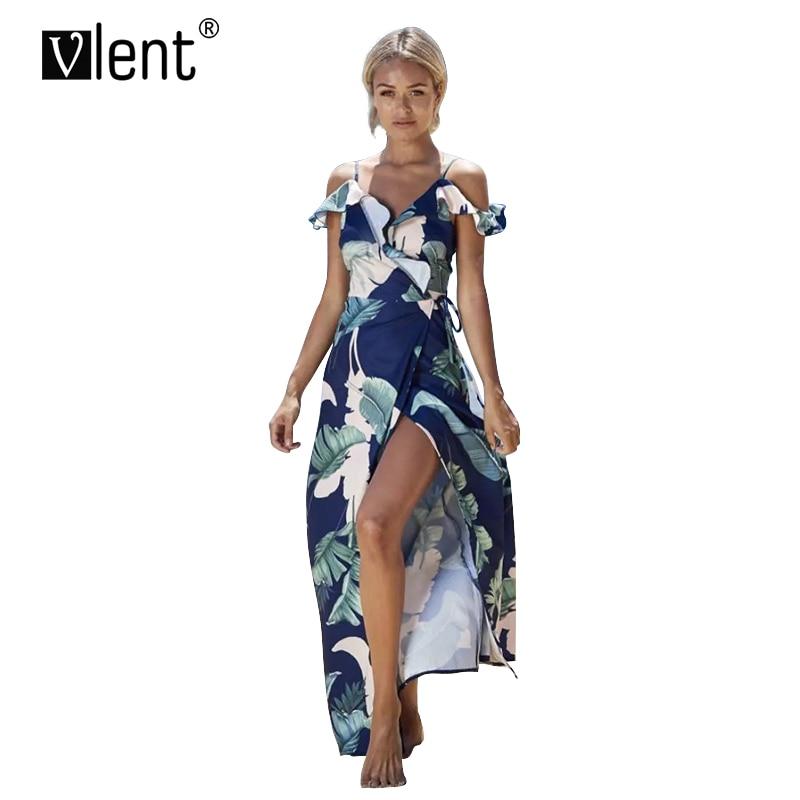 Sytiz Boho Ruffle Maxi Dress Women Off Shoulder Floral