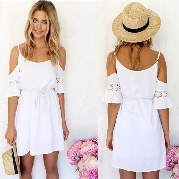 Summer Style 2015 Vetement Femme Strapless Patchwork Casual White