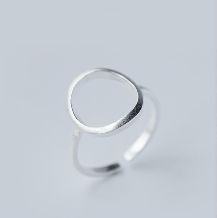 925 Sterling Silver Open Round Rings for Women Simple Geometric Circle Finger Ring_conew1