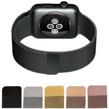 Milanese Loop Watch Strap Men Link Bracelet Stainless Steel Woven Black Watchband Case For Apple watch band 42mm 38mm iWatch