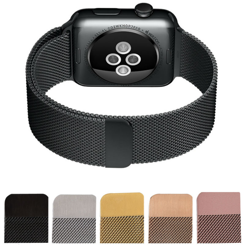 Milanese Loop Watch Strap font b Men b font Link Bracelet Stainless Steel Woven Black Watchband