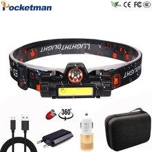 Портативный светодиодный налобный фонарь высокой мощности со встроенным аккумулятором T6+ COB USB Перезаряжаемый налобный фонарь Водонепроницаемый Головной фонарь
