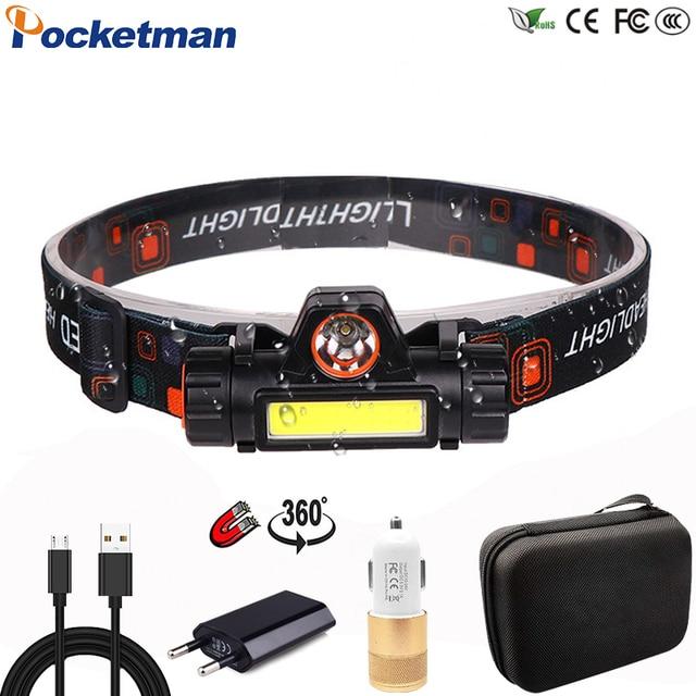 Портативный светодиодный налобный фонарь T6 + COB высокой мощности, перезаряжаемый через USB, водонепроницаемый Головной фонарь
