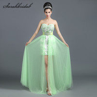 Elegant Long Lace Prom Dresses Strapless Back Zipper Beaded Aqua Floor Length Party Cocktail Gowns Cheap Real Picture Hot SD258