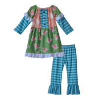 Factory Price Children Fall Outfits Green Print Kids Top Newborn Ruffle Blue Striped Leggings Girls Boutique Clothing Sets F154