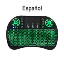 Mini clavier i8 espagnole 3 couleurs avec rétroéclairage, batterie au lithium, souris Air, télécommande, pavé tactile, boîtier TV portable
