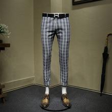 Мужские брюки 25% хлопок 10% лен синий плед укороченные брюки slim fit Мужской Костюм Уличная летняя новое поступление Свадебный Жених
