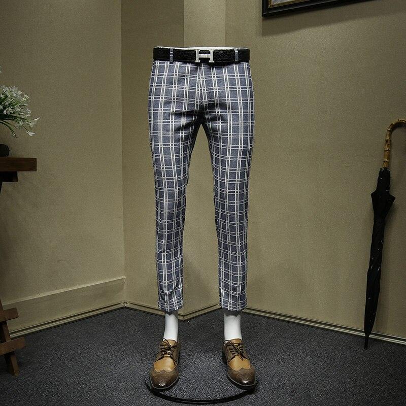 Men Pants 25% Cotton 10% Linen Blue Plaid Cropped Pants Slim Fit Mens Suits Pant Streetwear Summer New Arrivals Wedding Groom