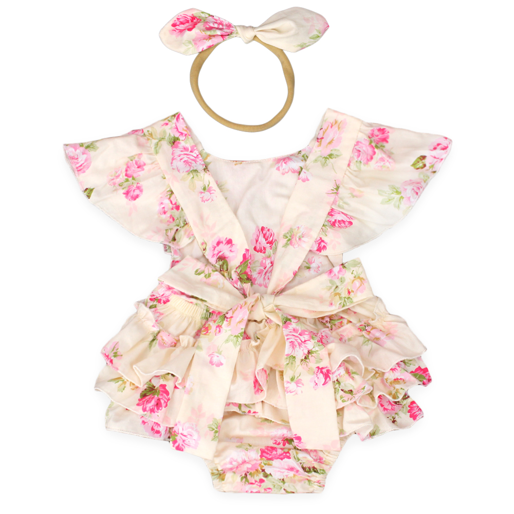 New Summer Style Cotton Floral Cake Smash Romper 1st