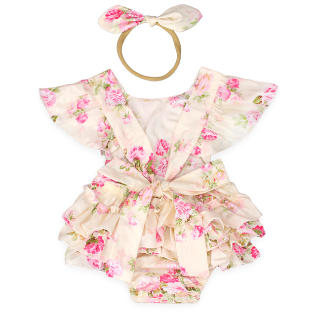 81aad670b474 new summer style cotton floral Cake Smash Romper 1st Birthday Outfit ...
